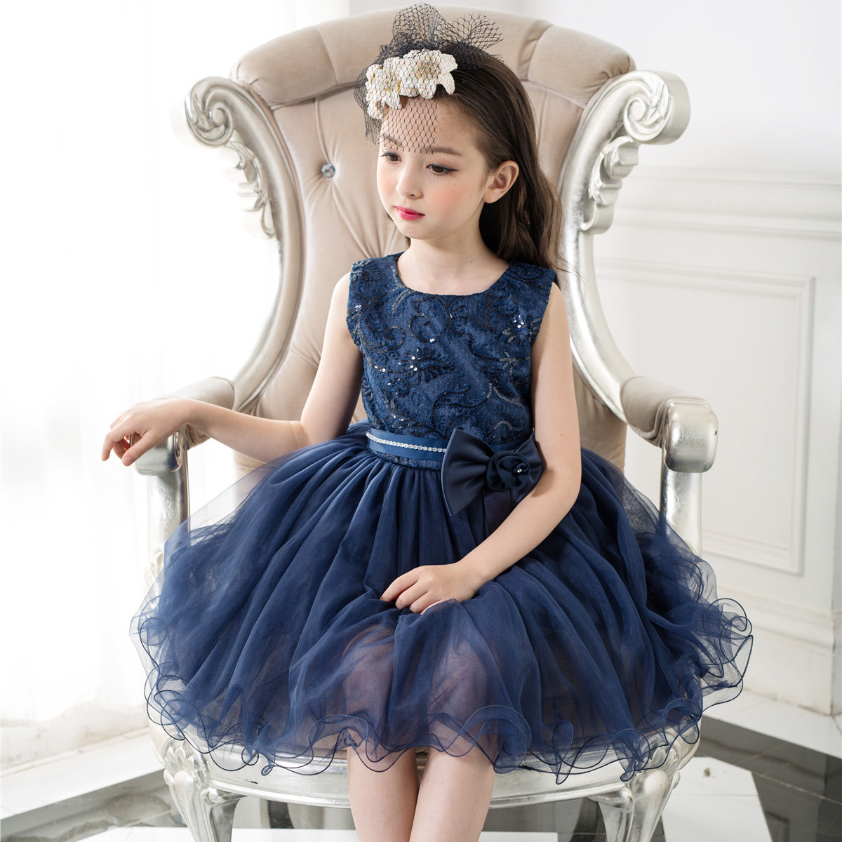 Formal Girls Dress Birthday Wear Navy Blue Flower Girl Vestido for Wedding 2017 Girl Clothes 3 4 6 8 10 12Years Old RKF174007(China (Mainland))