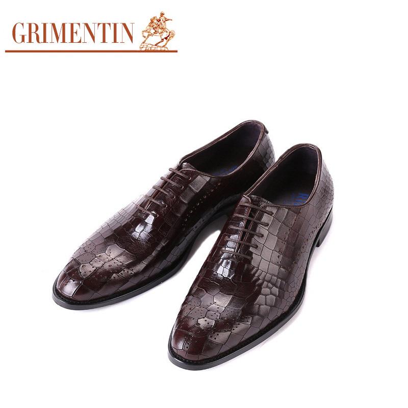 GRIMENTIN moda Italiana marca de lujo para hombre vestido de zapatos de cuero genuino patrón de piedra marrón negro pisos hombres de negocios ox412(China (Mainland))