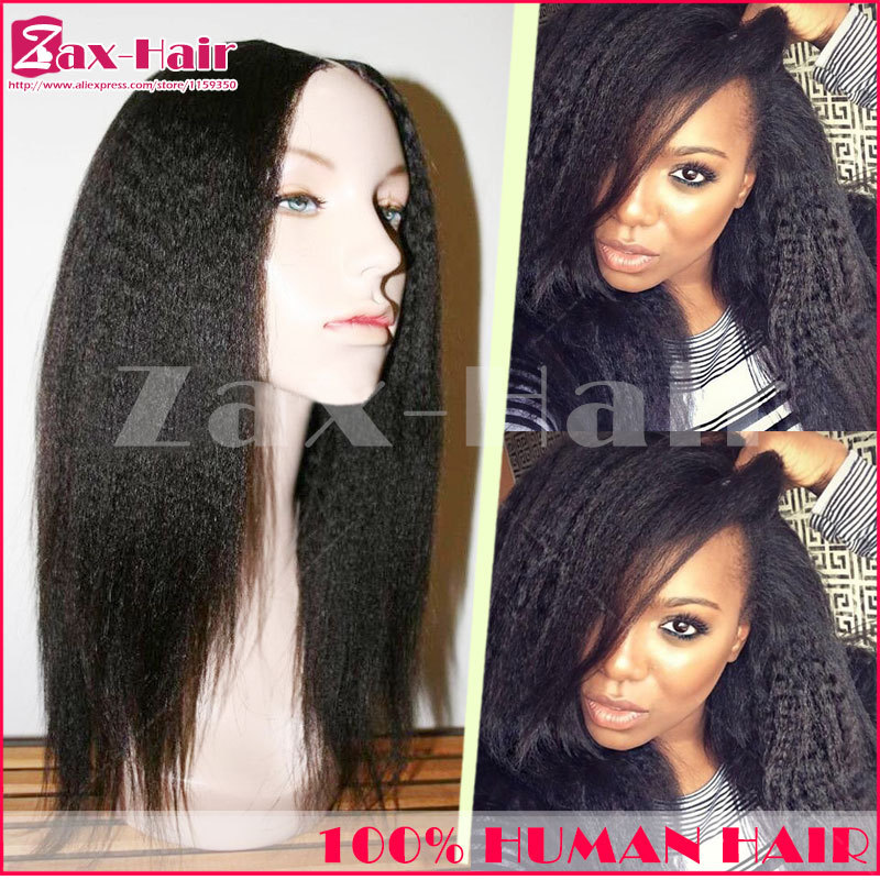 Brazilian u part wig yaki kinky straight Brazilian virgin human hair u part wigs unprocessed remy 130 density for black women 6A(China (Mainland))