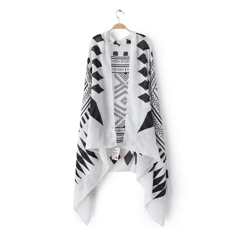 New Korean Large Size Black White Geometric Diamond Print Cotton Twill Scarf Shawl Beach Towel Sunscreen Air Conditioning Towel(China (Mainland))
