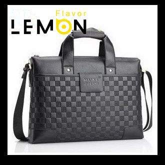 New 2015 High Quality Plaid PU Leather Men Travel Bags Brand Men Business Messenger Bags Fashion Men Handbags Hot Briefcase MB10(China (Mainland))