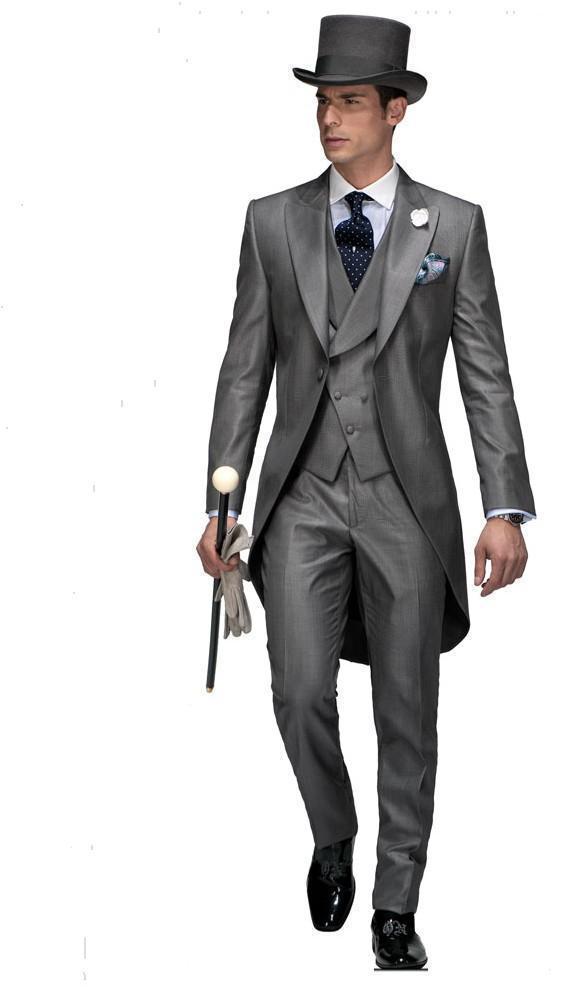 New Arrival Formal Men Tailcoats Greay Wedding Suits For Men Peaked Lapel Groomsman Wedding Suits With Vest 3 Piece Men Suit