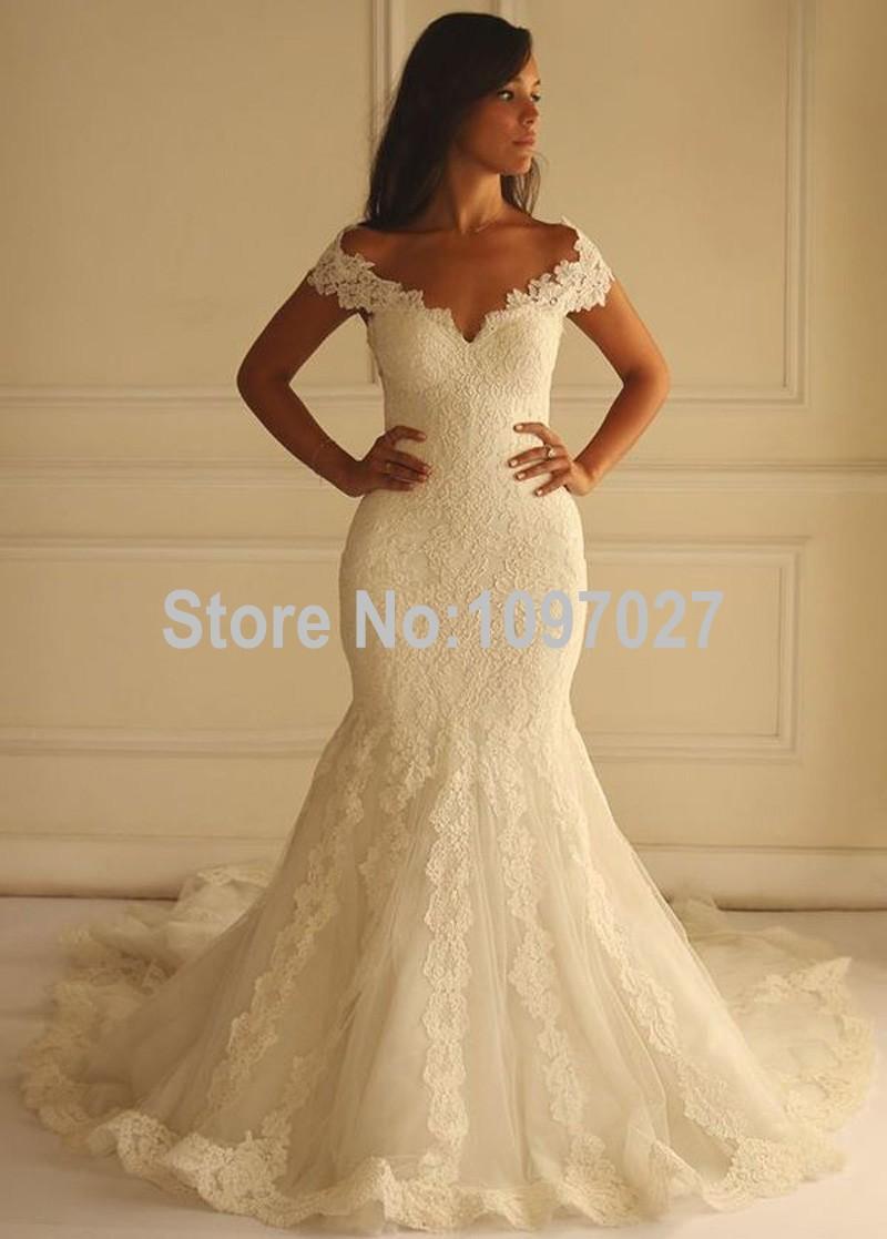 Buy mermaid v neck off shoulder wedding for Buying wedding dress from china