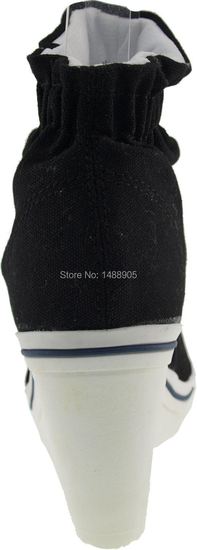 Wedge Heel Black Boots