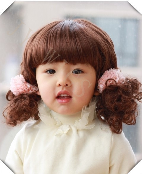 Baby Girl Wig Girls' Sweety Style Bayby Short Curly 2 Plaits Black Drak Brown Synthetic Hair Natural Full Costume Baby Girl Wig(China (Mainland))