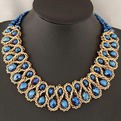 Aliexpress.com Comprar Collar de Cadena de Oro Collar de Moda declaración para Las Mujeres 2016 de La Vendimia Grande Doble Del Grano de Cristal