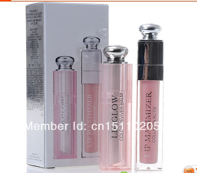 Brand New arrival Limited edition 3.5 g lip balm & 6ml lipgloss set Lip cream Liquid Rouge set via DHL fast free shipping(China (Mainland))