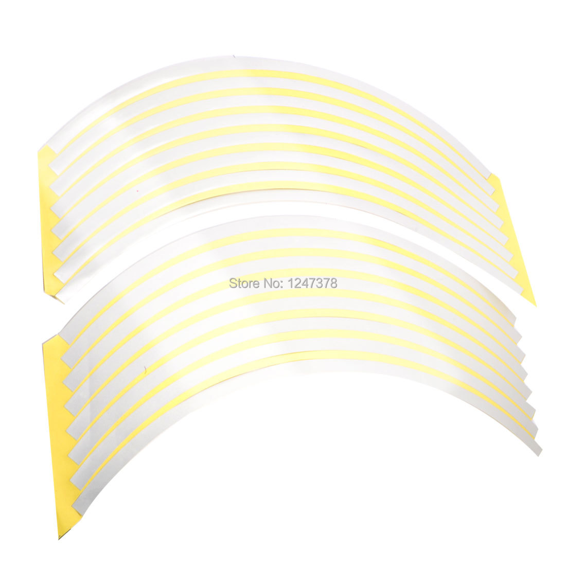 """13.4"""" Length Motorcycle Wheel Tape Stickers Stripes Silver Tone 16 Pcs(China (Mainland))"""