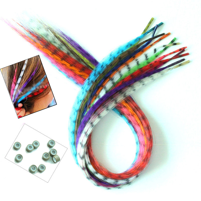12pcs/Lot 16 inches/40cm Women's Multicolour Grizzly Rooster Feather Hair Extensions(Send 12pcs beads for free) PP61(China (Mainland))