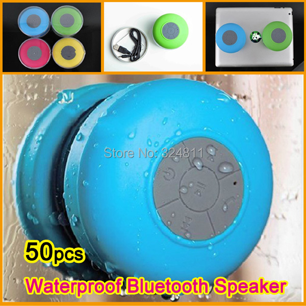 Fedex Free Shipping 50pcs/lot Portable Waterproof Bluetooth Speaker mini wireless speaker Shower Car Hands free call sound box(China (Mainland))