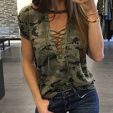 Buy Fashion T-shirts Sexy Women's Clothing Summer Short Sleeve T-shirt Loose Clothes Casual V-Neck T-Shirt Camouflage Female Tops for $5.35 in AliExpress store