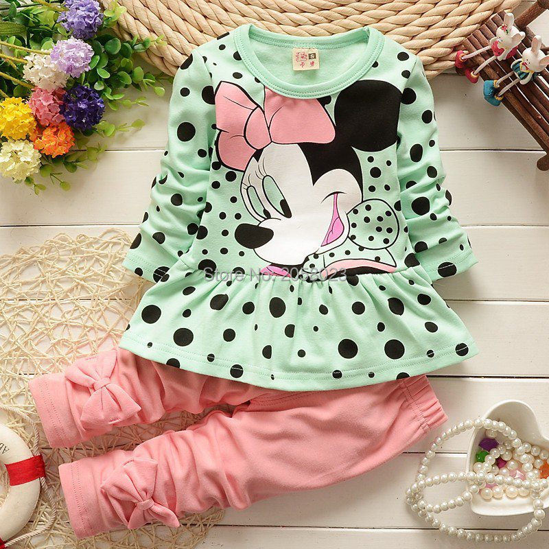 Vestidos New 2016 Children T-shirt +Pants 2pc Casual O-neck TrackSuits Legging Overalls Baby Girls Clothing Set Free Shipping