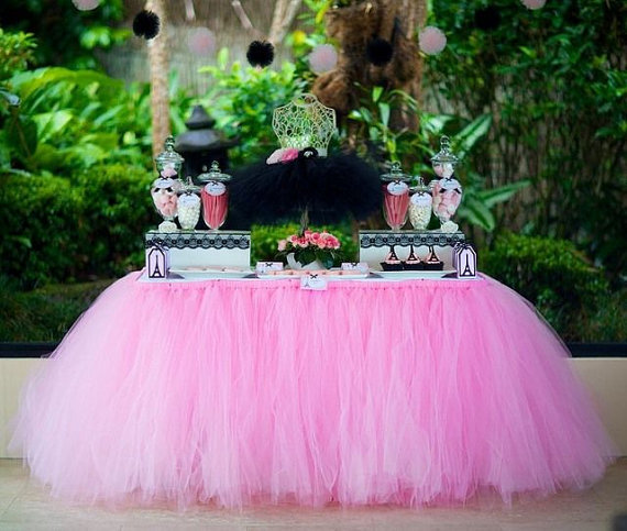 Pink Table Tutu Baby Shower Skirt Perfect For Birthday Party Bridal Shower Or Wedding Table Holiday Supplies Handmade Customize(China (Mainland))