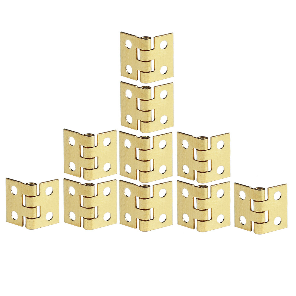 10pcs Small Hinges for Jewelry Box Furniture Kitchen Cabinet Closet Drawer Folding Table Hinges Gold Tone Hardware with Nails(China (Mainland))