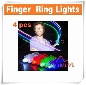 4 x Color LED Bright Finger Ring Lights Rave Party Glow D8228