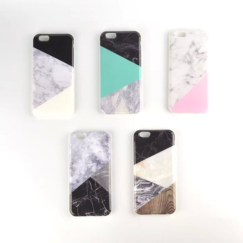 HOT! Phone Case For iPhone 6 6S 6/6S Plus 4.7 5.5 Inch 2016 New Fashion Geometric Splice Pattern Marble Back Cover i6 Case(China (Mainland))