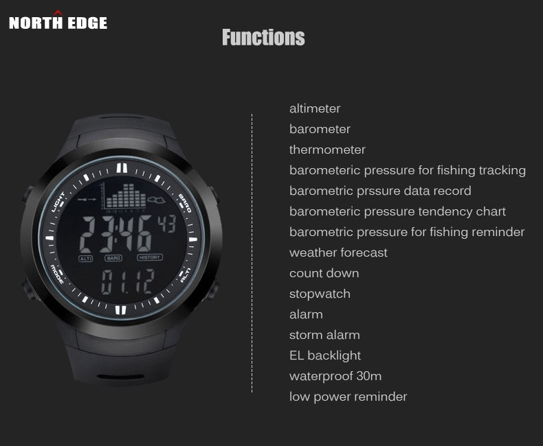 Northedge digital watches men watch with weather forecast for Barometric pressure forecast for fishing