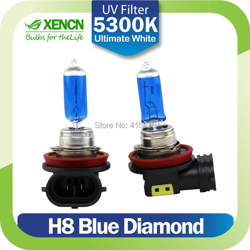 XENCN H8 12V 35W 5300K Emark Blue Diamond Light Replace Upgrade Car Bulbs Xenon Look Halogen Quartz Fog Lamp Free Shipping 2pcs(China (Mainland))