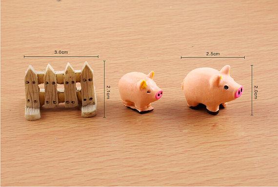 10 lotes ( 30 pcs ) résine clôture / Pig Mininature Figurine / Terrarium Figurine(China (Mainland))