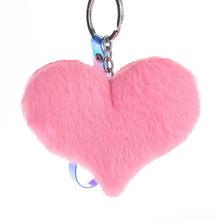 Bonito fofo coração chaveiros pom poms feminino falso coelho pele chaveiro menina saco pendurar carro chaveiro acessórios de jóias(China)
