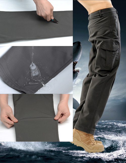 TAD Shark Skin Waterproof Windproof Outdoor Hiking Climbing CS Camouflage Hunting Pants Men Fleece Trousers Military Army Pant