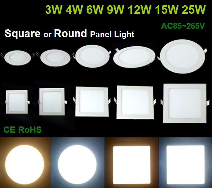 3W/4W/6W/9W/12W/15W/25W LED ceiling LED downlight square / Round panel light bulb AC85-265V Warm /Cool white,indoor lightling(China (Mainland))
