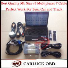 2016 Best Quality Mb Star C3 Multiplexer red interface 7 Cables with V2015.07 Software Xentry Developer Keygen Plus E6420 i3 cpu(China (Mainland))