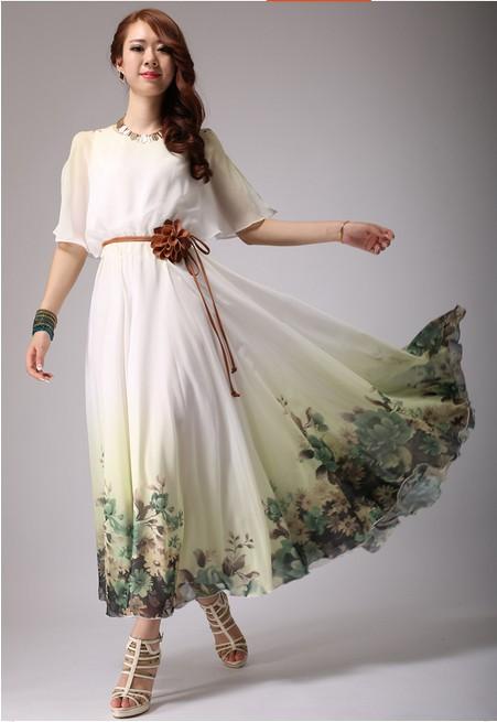 TOP QUALITY 2014 Fashion Womens Elegant Cute Floral Print Chiffon Full Dress Maxi Long DressОдежда и ак�е��уары<br><br><br>Aliexpress