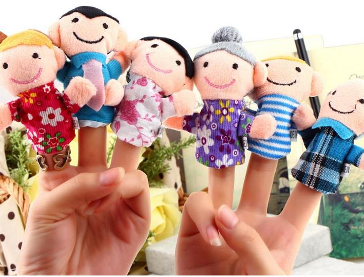 6Pcs Pack Finger Puppet Happy Family Finger Toy Finger Doll Baby Cloth Dolls Baby Toys Kid Child Boys Girls Educational Hand Toy(China (Mainland))