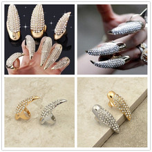New fashion accessories jewelry 14K gold plated full rhinestone Claw Fingernail ring for women girl nice gift good quality R1502(China (Mainland))