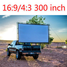 Cheap price 300inch 16:9 4:3 Big Foldable projection screen Canvas fabric Portable folding without frame screen projection film(China (Mainland))