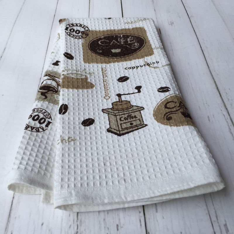 Cotton Waffle Coffee Printed Kitchen Tea Towel with Cafe design(China (Mainland))