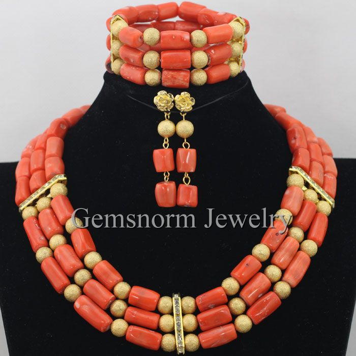 2015 New African Wedding Coral Necklace Set Nigerian Wedding Coral Beads for Brides Dubai Gold Plated Set Free Shipping CNR342<br><br>Aliexpress