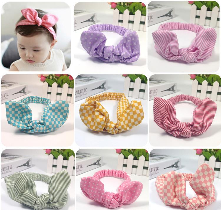 2015New elastic baby top knot fashion bunny ears bow hairband baby hair accessories cotton headband many colors Free Shipping(China (Mainland))