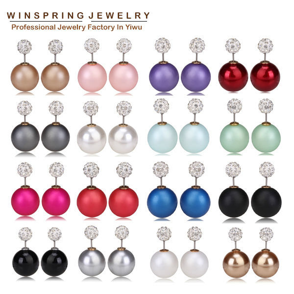 Hottest Sale 19Colors Korea Design Big Pearl Earrings Women Fashion Earrings Jewelry Stud Pearl Crystal Earrings(China (Mainland))