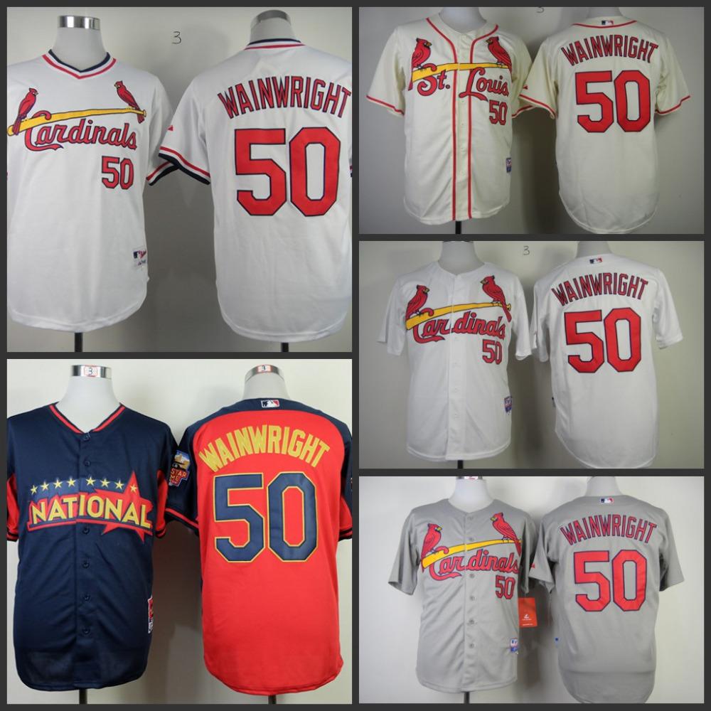 Mens Authentic St. Louis Cardinals Jersey 50 Adam Wainwright Baseball Jersey Stitched Embroidery Logos S-3XL(China (Mainland))
