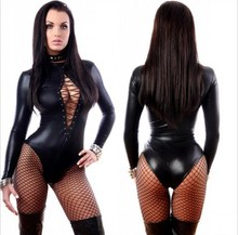 Womens Gothic Fashion Black  Overall Catsuit Jumpsuits & Playsuits Teddie  Costume Club Wear  M / XLP1066