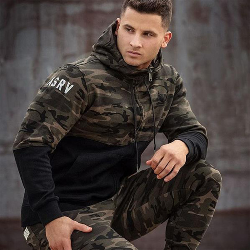 2016 New Fashion Hooded Sweatshirts autumn and Men's hoodie military camouflage stitching casual coat size M-XXL(China (Mainland))
