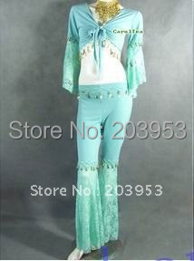 free ship Belly dance suit lace bell-bottomed pants+lace long sleeve blouse 6colurs