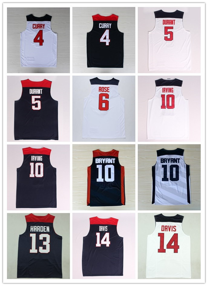 Jerseys Sports Shirts Stephen Curry 4 Derrick Rose 6 James Harden 13 Kyrie Irving 10 Kobe Bryant Kevin Durant 5 Anthony Davis 14(China (Mainland))