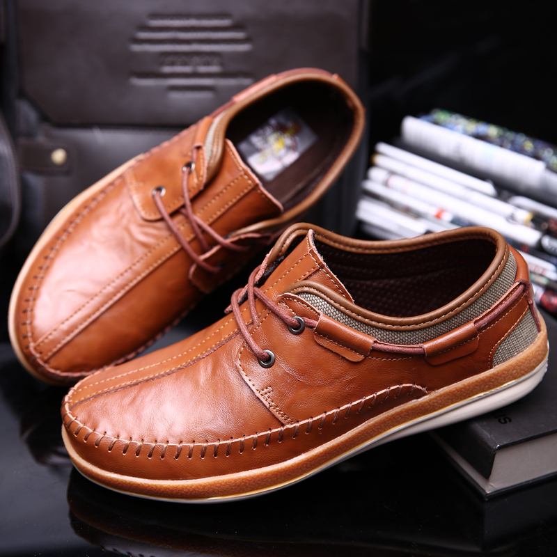 New 100% Genuine Leather Lace-Up Men's Flats Handmade Low Top Men Boat Shoes Big Size 28 CM Footwear(China (Mainland))