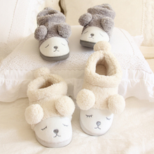 Slippers,Lovers  Autumn and Winter Indoor Slippers Home Furnishing Squinting Sheep Female Lamb Ball Bag with Cotton Slippers