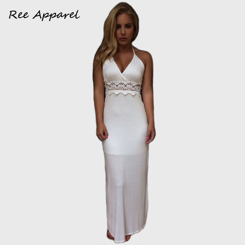 Summer Style 2015 White Dress Backless Halter Lace Bodycon maxi Dress High Waist long Party Dressss Sexy Club Wear(China (Mainland))