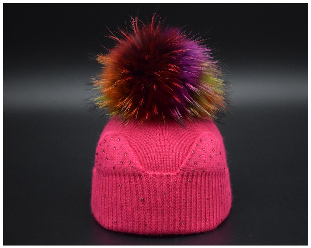 Winter Baby Wool hat Big Raccoon fur Pompom kids Beanies Hat winter Cap For Children Luxury rhinestone cut ears Girls knit hat