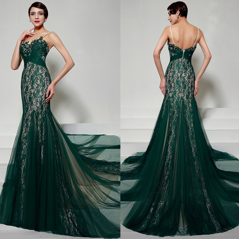 Emerald Green Evening Dresses 2016 Spaghetti Straps Long Lace Mermaid Evening