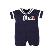 New Born Baby Clothes Costume Romper  Costum 2016 Bebe Summer Newborn Baby Clothes Letter Print Navy Costumes recem nascido
