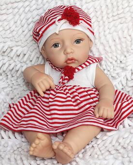 2016 Mini Silicone Reborn Dolls with Clothes,10 Inch Lifelike Baby Reborn Dolls Toys for Children's Birthday Gift Free Shipping(China (Mainland))