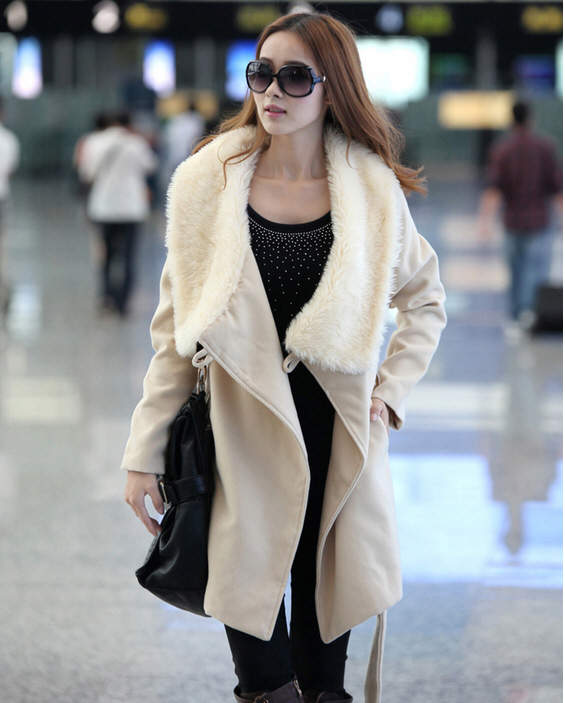 2013 new big rabbit fur collar woolen coat fall and winter clothes women Korean long plus size wool trench coat outwear H1184(China (Mainland))