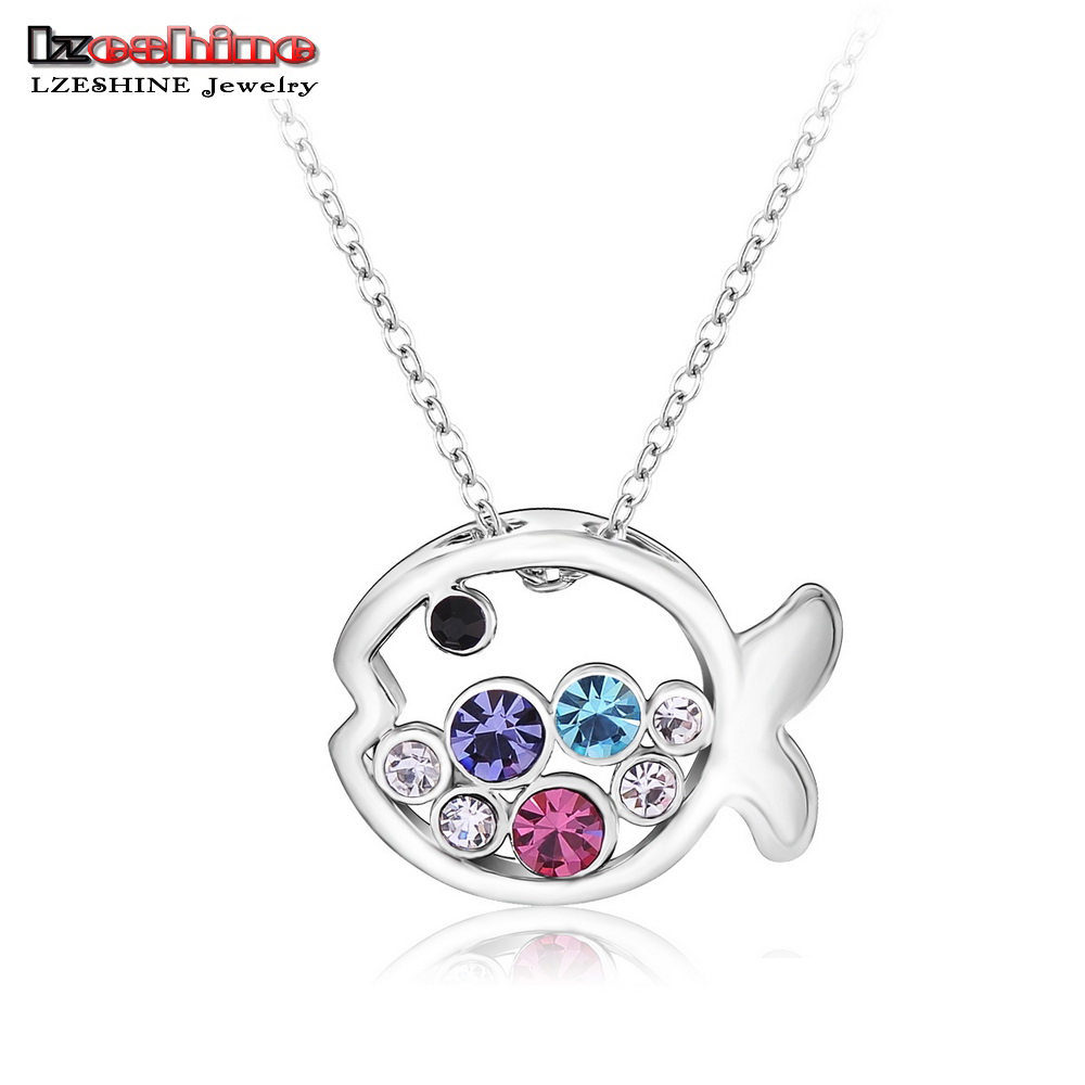Lovely Fish Pendant Necklace Platinum Plating Multicolor Austrian Crystal Necklace Fashion Jewelry Mix Colors Options NL0044-B(China (Mainland))
