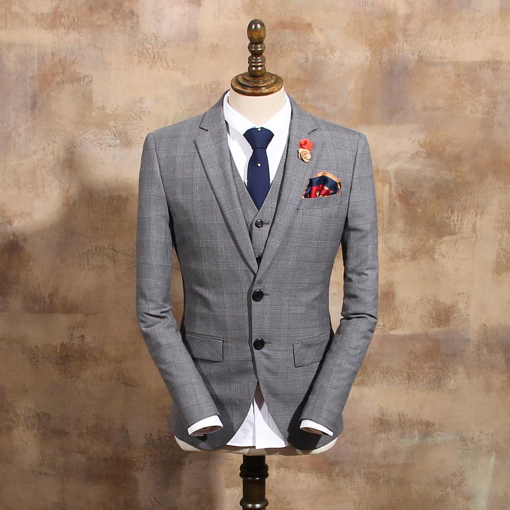 2015 fashion suit outerwear mens gray plaid vintage